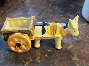 Donkey Hauling a Cart Planter or Candy Dish