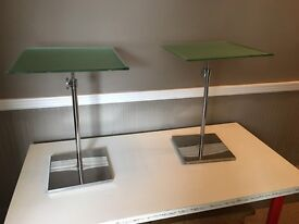 Designer Chrome & Glass Side Tables