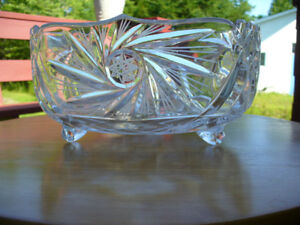 "BRILLIANT CUT GLASS PINWHEEL CRYSTAL LARGE 8-1/2 "" FOOTED"