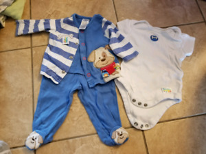 Assorted baby boy clothes, 3 mos to 6 mos