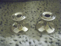 SILVER VINTAGE CANDLE STICKS.  VERY HEAVY E.P. LEAD NUMBERED