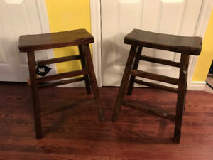 Brand New Solid Wood Saddle Bar Stools Both for $130