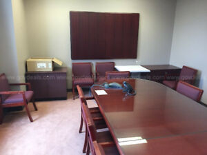 Used Office Furniture - Board room table, chairs, whiteboard