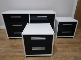 Moderm Bedroom 3 piece Furniture Set in black and white