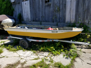 13' boat, motor and trailer