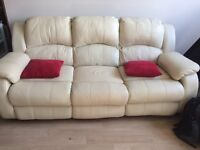Leather Sofa 3 Seater Recliner (Cream/Beige)- Electric