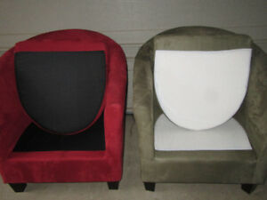 2 SUEDE BARREL CHAIRS Stratford Kitchener Area image 3