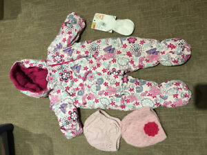 12 month one piece GUSTI snowsuit with hats and  LAMBETH PICKUP