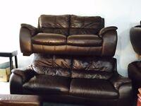 Stunning 3 and 2 brown leather sofa set