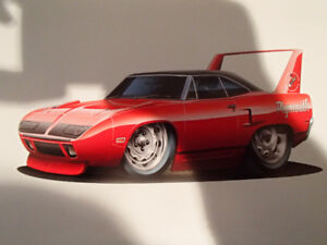 "1970 PLYMOUTH SUPERBIRD RED WALL ART PICTURE 11"" X 8.5"""