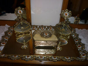 Antique 4 Piece Vanity Set Jewelry Box Perfume Bottles