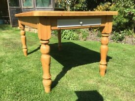 Solid Pine Kitchen Table....with 2 Drawers....5 ft long