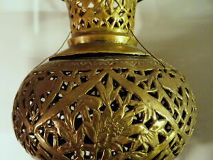 antique MOROCCAN HANGING LANTERN pierced filigree brass PERSIAN Kitchener / Waterloo Kitchener Area image 3