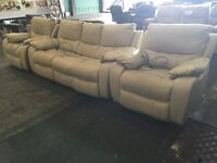 Cream three piece suite 3 seater sofa and 2 armchairs electric power recliner
