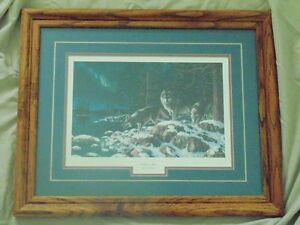 Jim Hansel Night Lights ( Wolves) Matted and Framed Picture