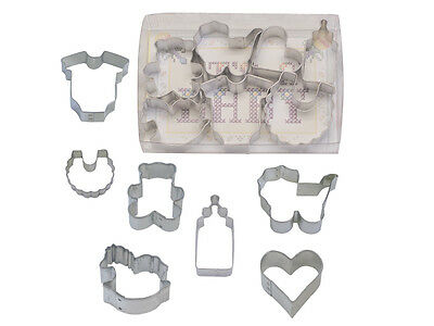 Baby Shower Cookies Cutters (Baby Shower MINI 7 piece Tinplated Steel Cookie Cutter Set -)
