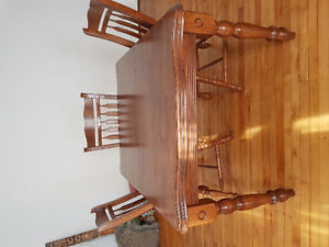 Dining table with leaf 6 chairs