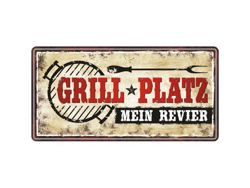 """Schild Metall """"Grillplatz mein Revier"""""""