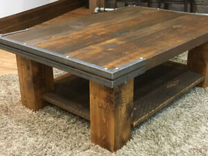 Handmade reclaimed 2 inch Pine Coffee Table with metal accents