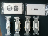 White toggle switches, 3-way switches and cover plates