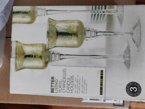 Glass candle holders. Brand new in box