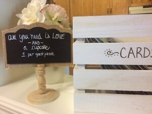 Wedding cards box and signs