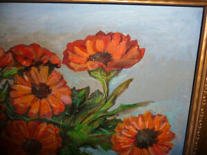 Vintage Still Life of Zinnias In A Blue Vase by M. Oliphant '47 Stratford Kitchener Area image 6