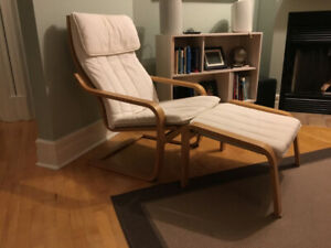Ikea Poang armchair and foot stool
