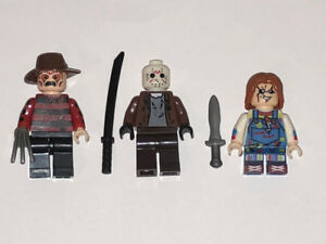 All 3 Freddy Krueger, Jason Voorhees, Chucky Horror Lego Men