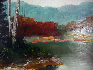 "Original Painting by Listed Artist Ernest Burrows ""Fishing Hole"" Stratford Kitchener Area image 4"