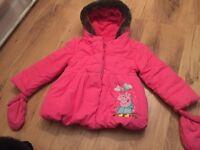 Girls M&S peppa pig coat 2-3