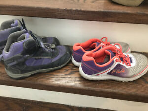 Girls size 5 Fila sneakers and KEEN boots