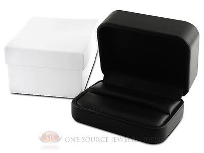 Black Leather Metal Double Ring Jewelry Gift Box 3 18w X 2 38d X 1 12h
