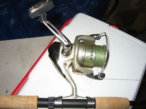 fishing tackle, rod and reel, sold as a package deal
