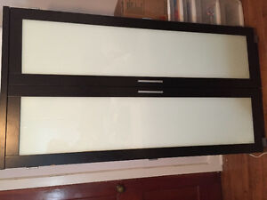 Black Desk Armoire with Frosted Glass Doors