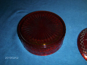 VINTAGE RUBY RED GLASS HUMIDOR OR CANDY DISH-1950/60S