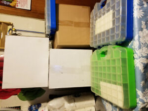 furnitures, screws nails boxes, exercice mechines, bags, books