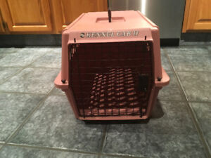 Pink plastic pet carrier for cat or small dog.