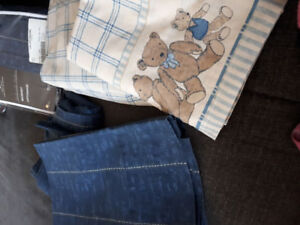 Teddy bear sheet set with matching bed skirt and 2 piece curtain