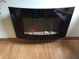 Wall Mounted Electric Fire - Fireplace by Hyundai (black)