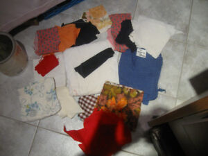 A BUNDLE of MATERIAL [BITS and PIECES] SUITABLE for QUILTERS