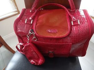 Dog Cat Faux Crocodile Pattern Pet Carrier - Red - Medium