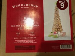 6FT PRELIT ARTIFICIAL CHRISTMAS TREE ROSE GOLD SLIM-CLEAR- mnx