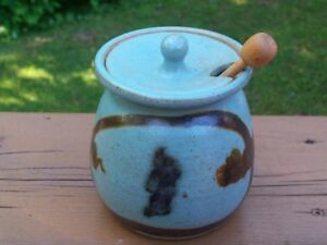 Pottery Honey or Jam Jar with wonderful colors!