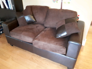 Microfiber loveseat with free couch
