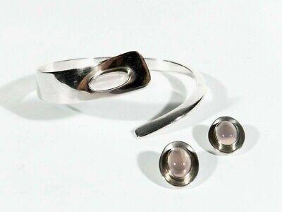 hmuckset ° Silber Rosenquarz Armspange + Ohrclips (Sixties-schmuck)