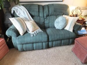 FOR SALE Love Seat green & pin stripes of burgundy and deep turq