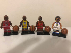 NEW!! All 4 Michael Jordan, Stephen Curry Basketball Lego Men