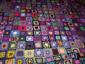 Large Colorful & Cheerful Crochet Crazy Quilt Style Blanket