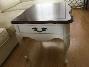 French Provincial coffee table, white with wood top